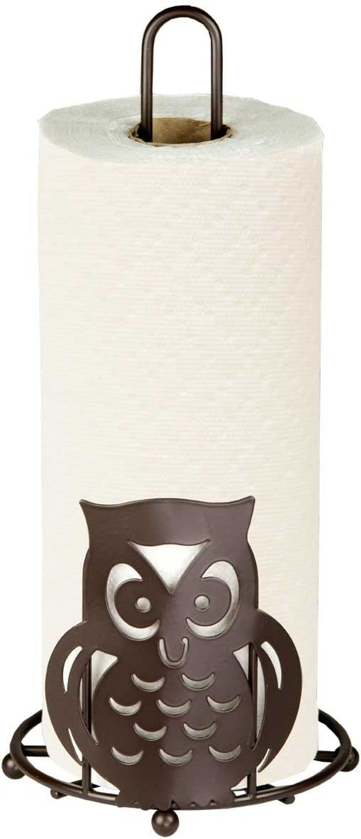 Home Basics Stylish Steel Owl Paper Towel Holder Organizer Dispenser Stand, Circular Base, Bronze (1)
