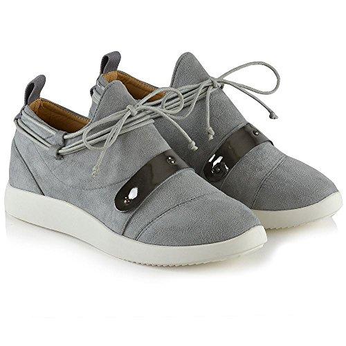 Zeppa Piatta on Donna Glam Scamosciato Ginnastica Sneaker Finto Grigio Scarpa Essex Slip Da Casual 0xSw8qzq