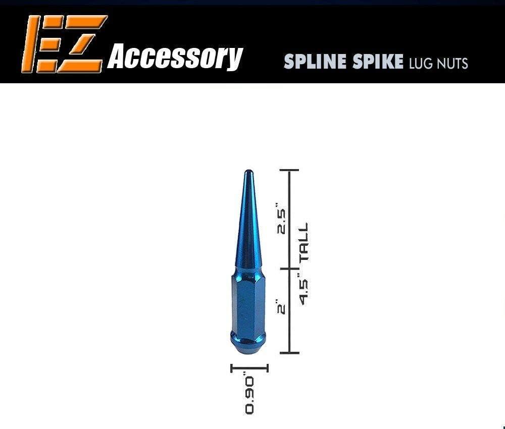 12x1.5   with Key 20 Pc Solid Steel Spike Lug Nuts Kit Blue