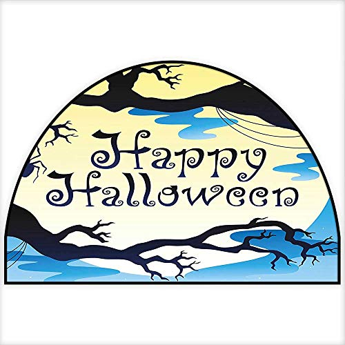 Semicircle Area Rug Carpet Happy Halloween Quote Spooky Night Moon and Branches Shadows Haunted Lights Yellow Black Living Dining Room Bedroom Hallway Office Carpet W24 x H16 INCH ()
