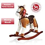 Heritage Deluxe 68cm Rocking Horse With Sounds & Moving Mouth Tan/White
