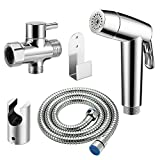 Handheld Bidet Sprayer Set, AOZBZ Shower Bidet Tap Shattaf Spray Faucet Cloth Diaper Cleaning for Toilet Attachment with Hose, Tee Angle Valve, Bidet Holder, Holder Hook