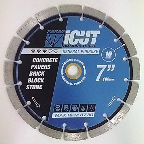 Paver Saw Accessories (iCut Premium Segmented 10mm Diamond Saw Blade General Purpose for cutting Concrete Block Brick Pavers (7 Inch))