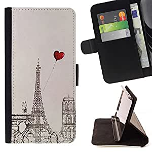 For Apple iPhone SE / iPhone 5 / iPhone 5S Case , Dibujo Corazón Amor Torre Eifel- la tarjeta de Crédito Slots PU Funda de cuero Monedero caso cubierta de piel