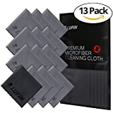 Lupin Microfiber Cleaning Cloths, 13 Pack Premium Ultra Lint Polishing Cloth for Cell Phone, Tablets, Laptops, iPad, Glasses, Auto Detail, TV Screens & Other Surfaces w/ Carrying Case - Gray