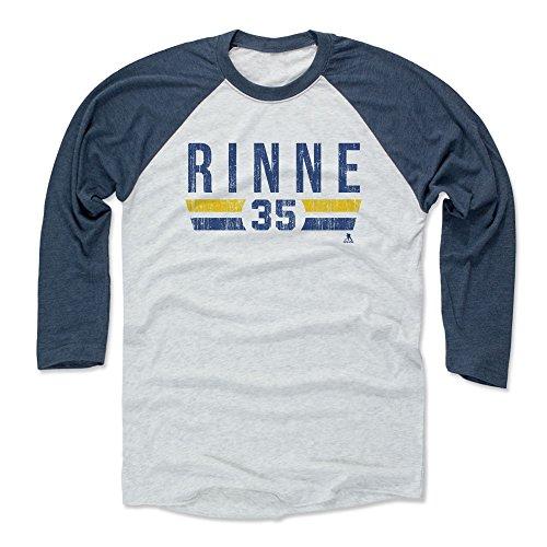 500 LEVEL Pekka Rinne Baseball Tee Shirt (Large, Indigo/Ash) - Nashville Predators Raglan Tee - Pekka Rinne Font B