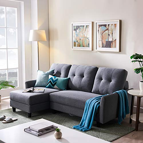 HONBAY L Shape Couch Bed Sofa Reversible Sleeper Sectional Corner Couch with Storage Chaise Left Hand Facing