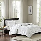 Madison Park Nicolette King/Cal King Size Bed Comforter Set - White, Striped – 4 Pieces Bedding Sets – 100% Cotton Bedroom Comforters