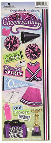 Cheer Chipboard - Paper House Productions STCX-0172E Cardstock Stickers, Cheerleading (6-Pack)