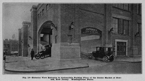Photo: Entrance to automobile parking floor, Center Market, Newark, New Jersey, NJ, 1929 . Size: 8x1