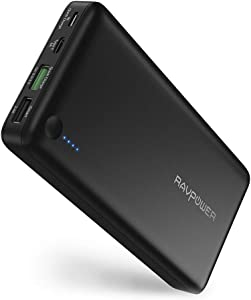 USB C Portable Charger RAVPower 20100mAh Quick Charge Power Bank Type C Battery Pack with QC 3.0 USB battery bank External Battery for iPhone iPad Pro MacBook Switch Galaxy S10 Note 10 and More