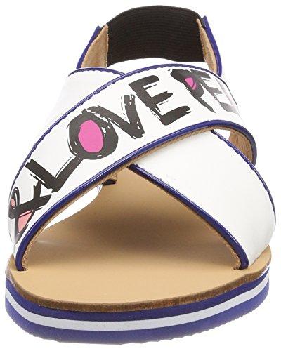 Love Moschino Damen San.LOD.54418/20 Nap.Bian/Vern.Bltt Slingback Sandalen mehrfarbig (White-Bluette)