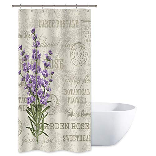 Riyidecor Lavender Vintage Shower Curtain Flowers Small Stall Floral Grunge Herbs Leaves Purple Beige Decor Fabric Polyester Waterproof Fabric 36x72 Inch 12 Pack Plastic Hooks (Purple Shower Stall Curtains)