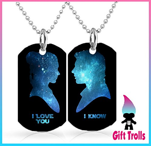 Gift Set Star Wars I Love You - I Know Quote Dog Tag Necklace ( 30 inch Ball Chain Included x 2 ) Princess Leia and Hans (Princess Leia Quotes)
