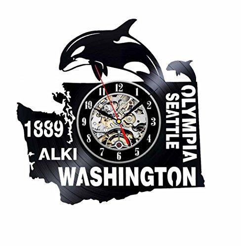 Washington Nationals Round Clock - Washington Gift USA States City Vinyl Record Clock Wall Decoration Modern Vintage Art Room