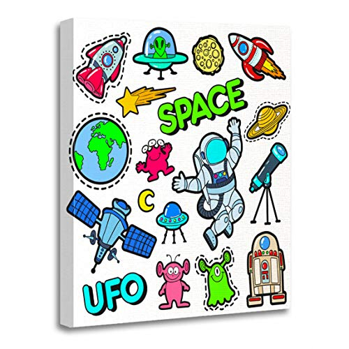 (Emvency Canvas Wall Art Print Patch Badges Space UFO Robots and Funny Aliens Artwork for Home Decor 16 x 20 Inches)