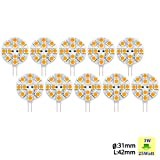 Sunix 10pcs G4 3W 5050 SMD 12 LED Light Bulb Warm White Home Car Marine Boat Lamp DC 12V SU110
