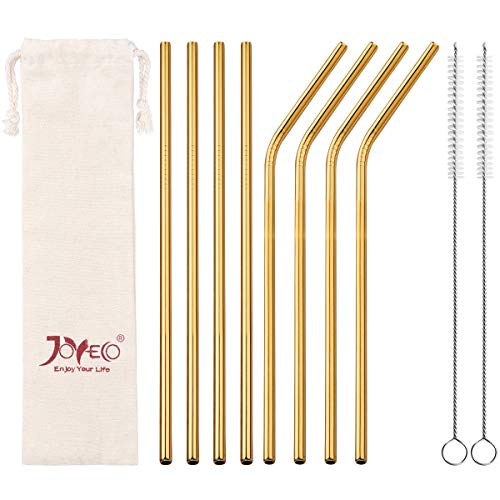 JOYECO Stainless Steel Drinking Straws, Gold Reusable Drink Straw for 20oz Tumblers Rumblers Cold Beverage (Set of 8,4 Bent+4 Straight + 2Brushes) ()