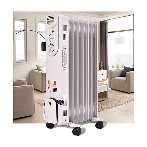 1500W Electric Oil Filled Radiator Space Heater 5-Fin Thermostat Room Radiant by Unknown