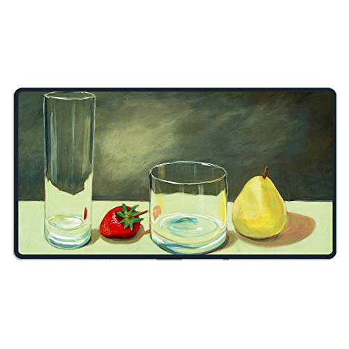 ZhiqianDF A Still Life Painting With A Strawberry And A Pear Heavy Thick MousepadsFoldable Mat - Park Pear Florida