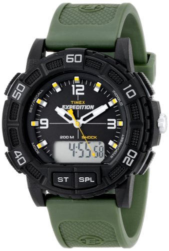 Timex Men's T49967 Expedition Double Shock Black Resin Watch with Green Resin Strap
