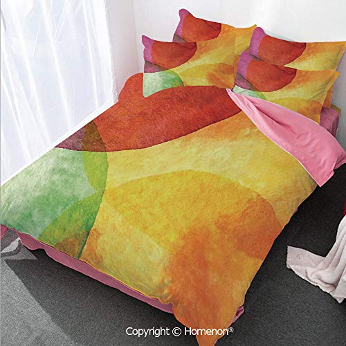 Homenon Abstract Girl's Room Cover Set Full Size,Abstract Watercolor Painted Paper Style in Modern Art Design,Decorative 3 Piece Bedding Set with 2 Pillow Shams Yellow Orange Lime Green