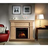 Electric Flame Travertine Mantel Fireplace with Multi-function Remote Control