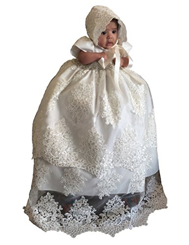 - Aorme Ivory Long Christening Gowns with Bonnet Beading Crystal Baby-Girls Baptism Dresses