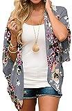 Relipop Women's Sheer Chiffon Blouse Loose Tops Kimono Floral Print Cardigan (Large, Type 53)