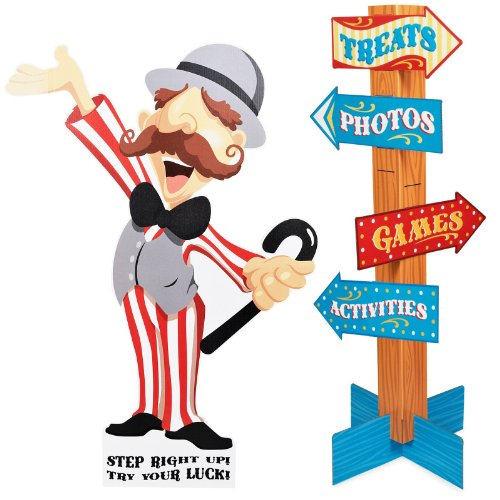 Carnival Games Room Decor - Ringmaster with Direction Sign Standup (Carnival Man With Direction Sign)
