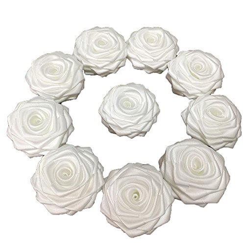 Satin Flower Embellishments (10 Pcs/lot White Satin Ribbon Rose 2.5