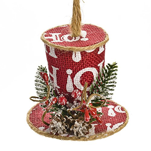 Festive Ho Ho Ho Red Burlap Top Hat Hanging Christmas Ornament