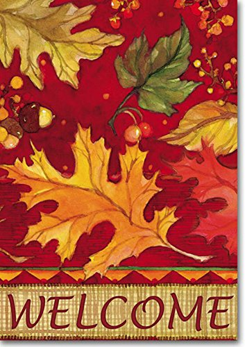 Tossed Leaves Fall House Flag Welcome Seasonal Yard Banner 28″ x 40″ Review