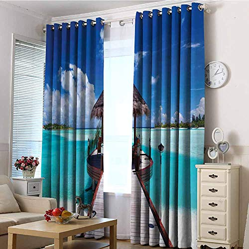 - EwaskyOnline Doorway Curtains,Ocean Jetty and The Ocean View on Tropical Caribbean Island Beach Resort Image,Darkening Thermal Insulated Blackout,W72x84L Turquoise Blue Redwood