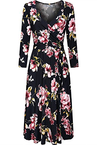 BodiLove Women's Silky Polyester Stretchy Fabric 3/4 Sleeve V-Neck Printed Knee Length Faux Wrap Dress Black Pink Floral - Day V Date