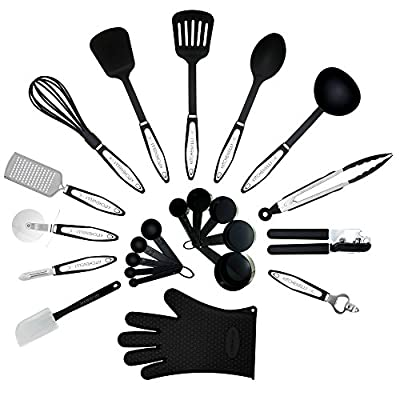 Kitchenelli Cooking Utensils Set – 22 Piece Premium Tool and Gadget Set Made of Lightweight Stainless Steel and Durable Black Nylon by My Brend