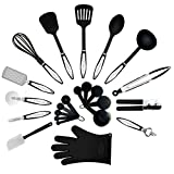 Kitchenelli Cooking Utensils Set - 22 Piece Premium Tool and Gadget Set Made of Lightweight Stainless Steel and Durable Black Nylon