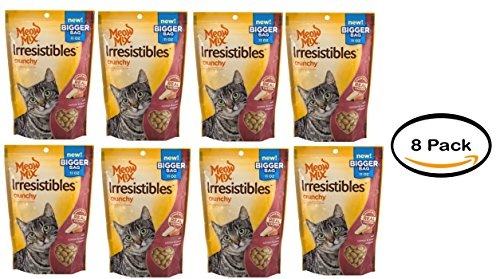 Pack of 8 - Meow Mix Irresistibles Cat Treats, Crunchy with Salmon and Ocean Whitefish, 11 oz by Meow Mix