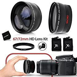 Pro 67mm Wide Angle Lens W Macro + Pro 67mm 2 X Telephoto Lens Kit + 67mm-72mm Step-up Ring For All 67mm Lenses & Cameras
