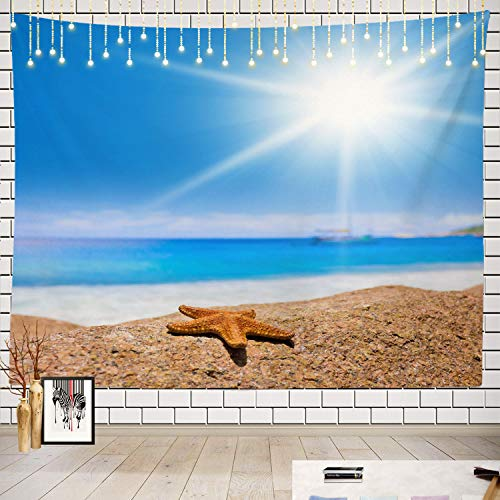 (Batmerry Beach Bright Landscape Tapestry, Exotic Wallpaper Vacation Beach Sand Sandy Beauty Bright Picnic Mat Beach Towel Wall Art Decoration for Bedroom Living Room Dorm, 51.2 x 59.1 Inches, Silver)