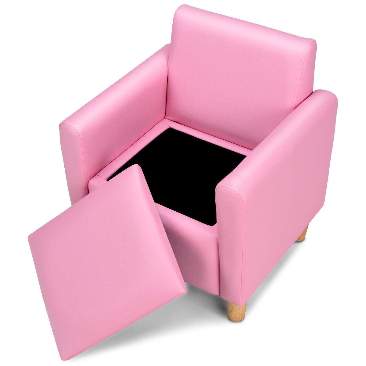 HONEY JOY Kids Sofa, Upholstered Armrest, Sturdy Wood Construction, Toddler Couch with Storage Box (Single Seat, Pink)