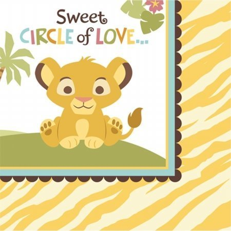 Lion King Baby Shower Beverage Napkins (16) 2-ply Dessert Disney Party Supplies -