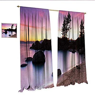 WinfreyDecor Landscape Customized Curtains Golden Sandy Beach by The River with Fairy Sky Relax Simple Life Art Photo Thermal Insulating Blackout Curtain Purple Cream.jpg