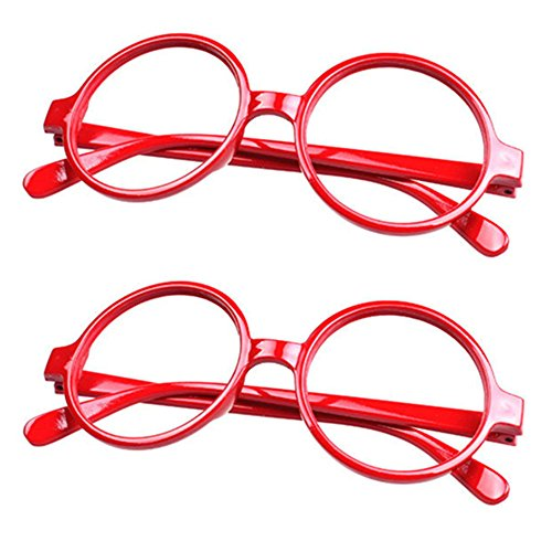 FancyG® Retro Geek Nerd Style Round Shape Glass Frame NO LENSES Costume Eyewear 2 Pieces Set - Red x 2