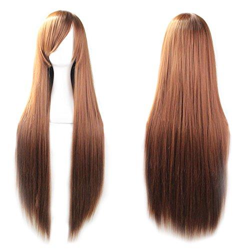 [Rbenxia 32'' Women's Cosplay Wig Hair Wig Long Straight Costume Party Full Wigs Dark Brown] (Halloween Costume Men Long Hair)
