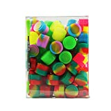 X-Value 2ml Silicone Oil Container Non Stick Round Jar Packed by 100pcs and a Holder Assorted Color