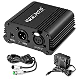 Neewer® 1- Channel 48V Phantom Power Supply Black with Adapter and One XLR Audio Cable for Any Condenser Microphone Music Recording Equipment