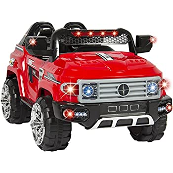 best choice products 12v kids ride on truck car w remote control 2 speeds led lights mp3 aux cord red