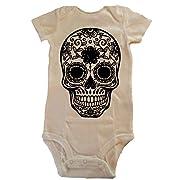 Custom Kingdom Baby Boys/Girls Mexican Sugar Skull Bodysuit Romper (12 Months, White)