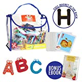 Joy Abc's | 40 Pcs Wooden Refrigerator Alphabet Letters and Numbers Magnets with Flash Card Bonus | Full Magnet at the Back and Safe Perfectly Shaped and Sized for Kids Toddler | Packed in a Tote Bag